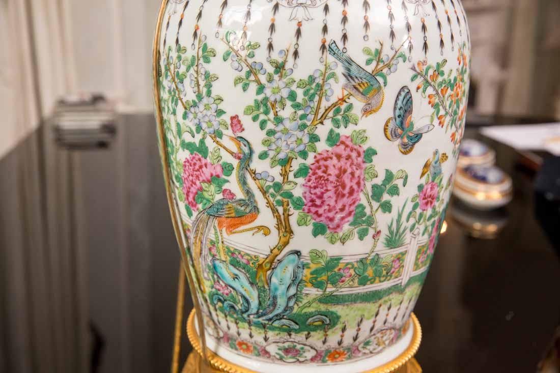 Pair Famille Rose Vases as Lamps - 7