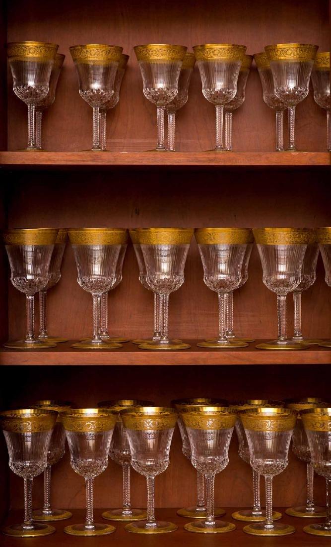 French Saint Louis Crystal Gilt Thistle Stemware - 10