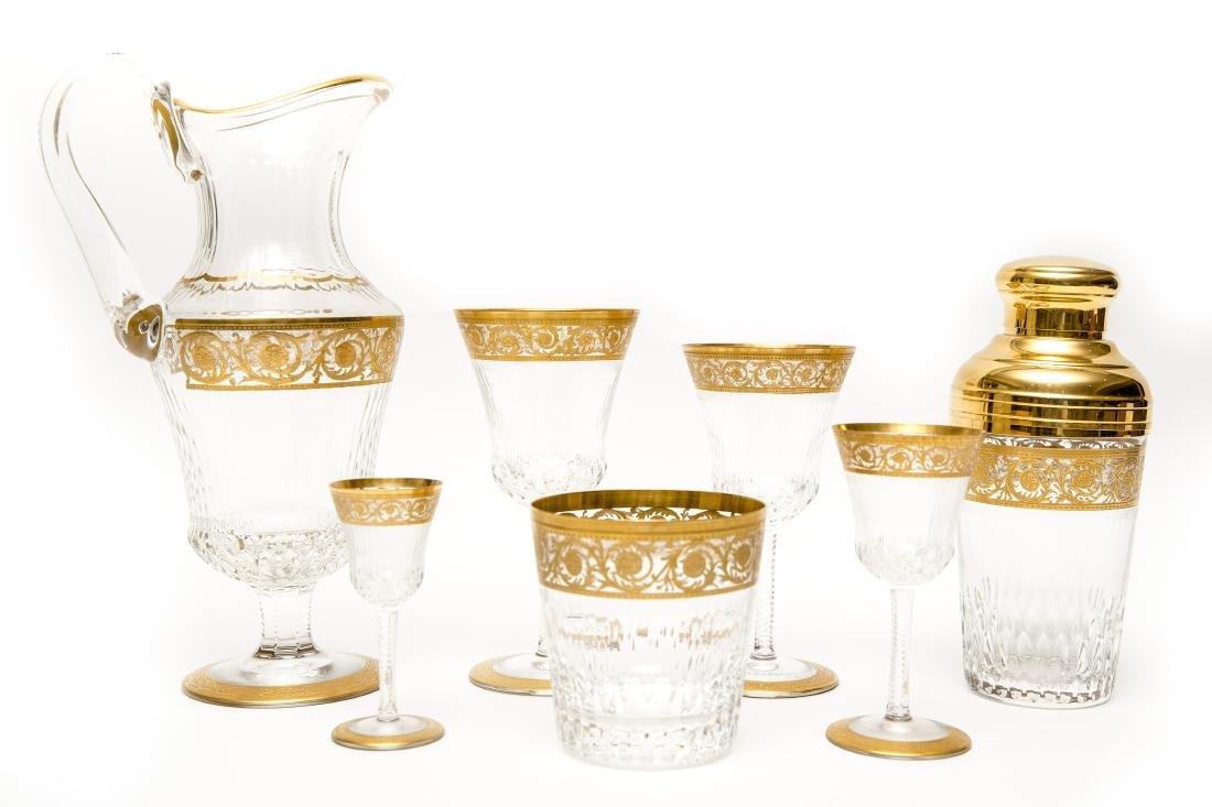 French Saint Louis Crystal Gilt Thistle Stemware