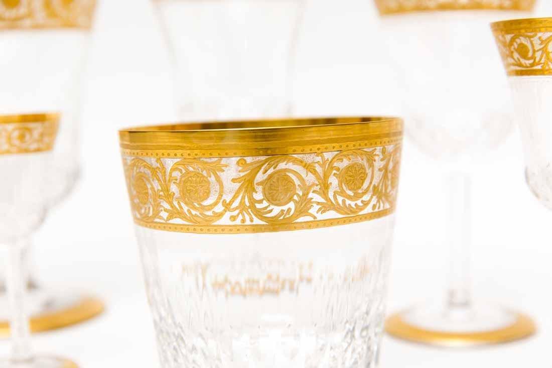 French Saint Louis Crystal Gilt Thistle Stemware - 2