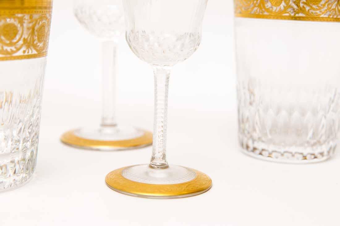 French Saint Louis Crystal Gilt Thistle Stemware - 3