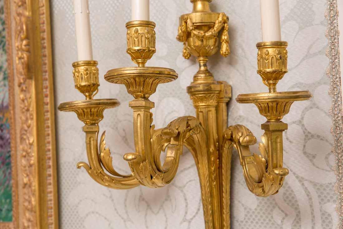 Pair of Antique  3-Light Sconces - 3