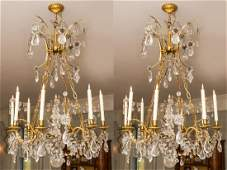 Pair of Cut Glass & Rock Crystal 8-Light Chandeliers