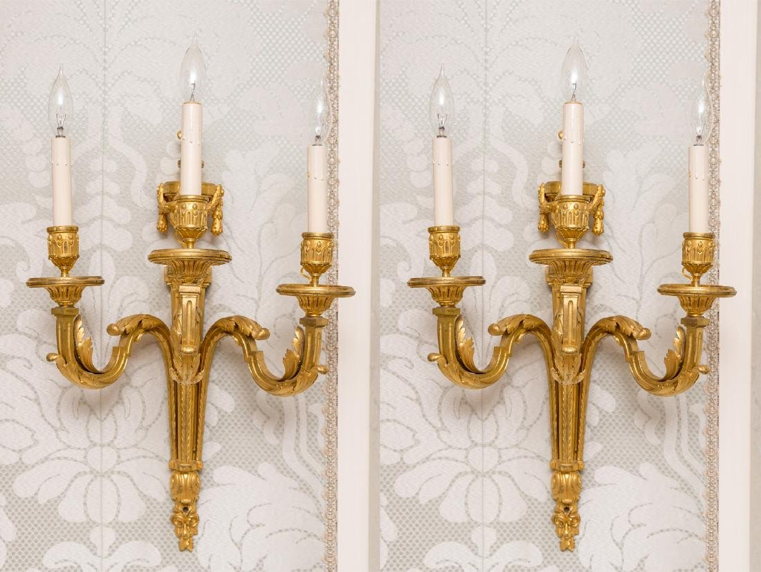 Group of 4  3-Light Sconces