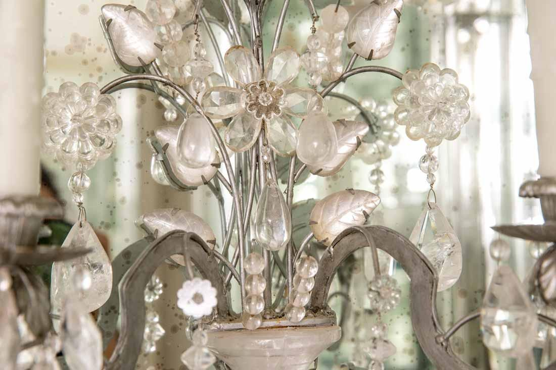 Pair of Rock Crystal 2-Light Sconces - 10