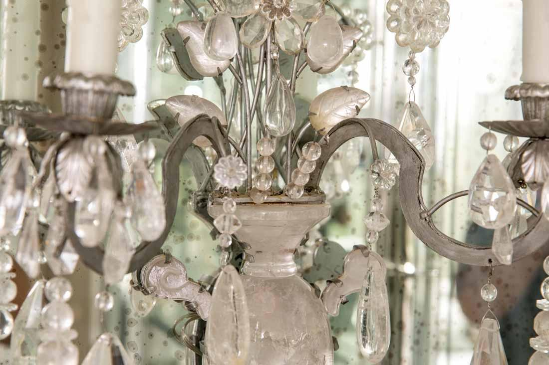 Pair of Rock Crystal 2-Light Sconces - 2