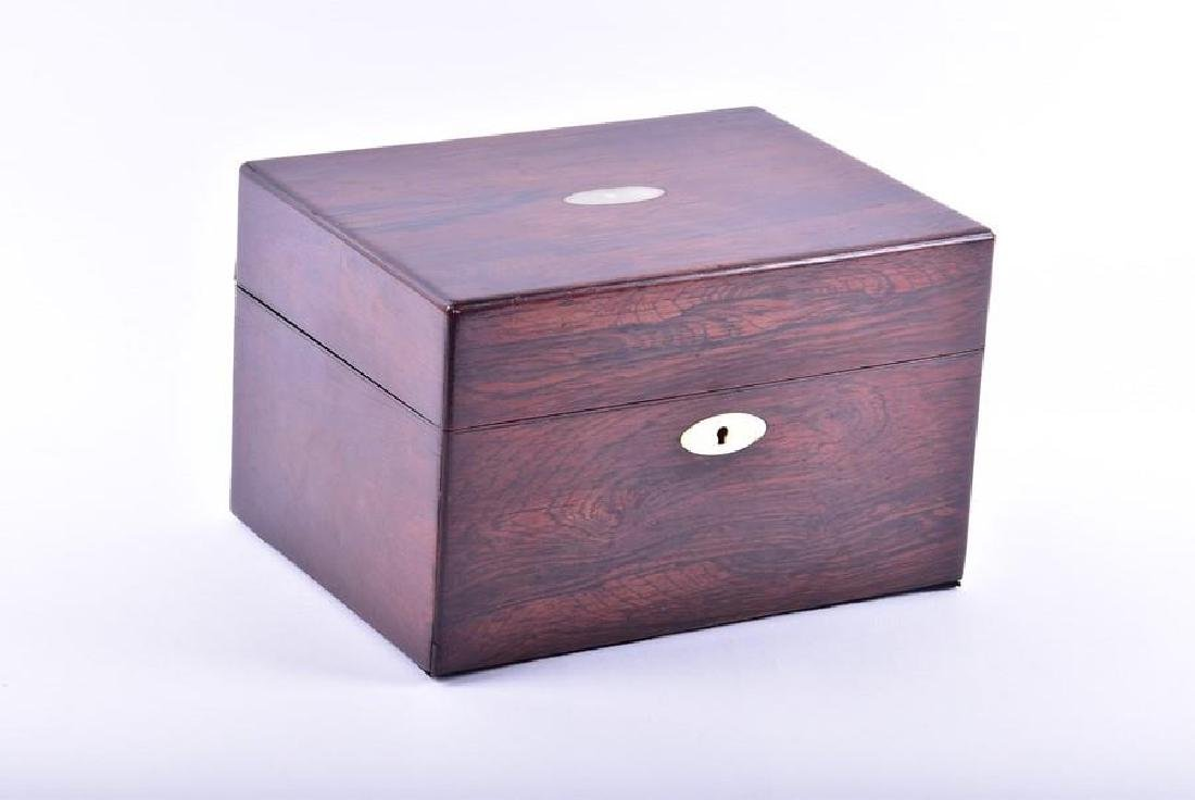 A Victorian rosewood veneered box with mother of pearl - 5