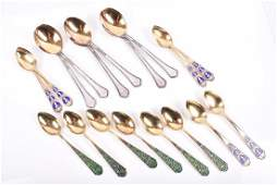 A cased set of six Russian silver gilt and cloisonne