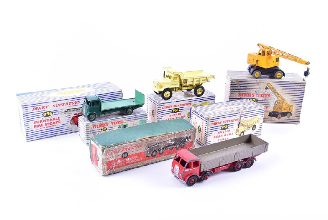 Six boxed vintage Dinky Toys diecast vehicles