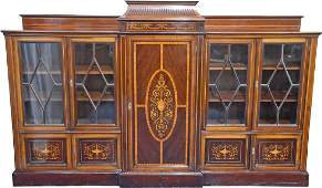 A large Edwardian mahogany and inlaid breakfront