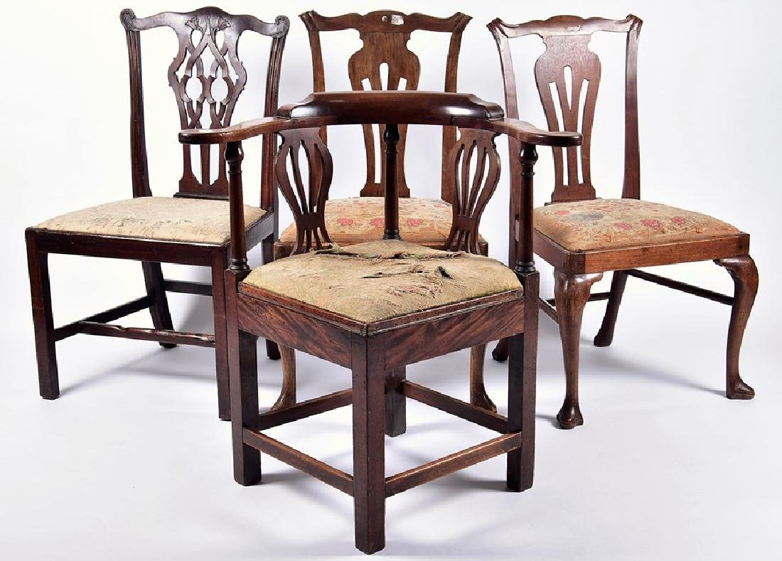 A late Victorian carved walnut corner chair  in the