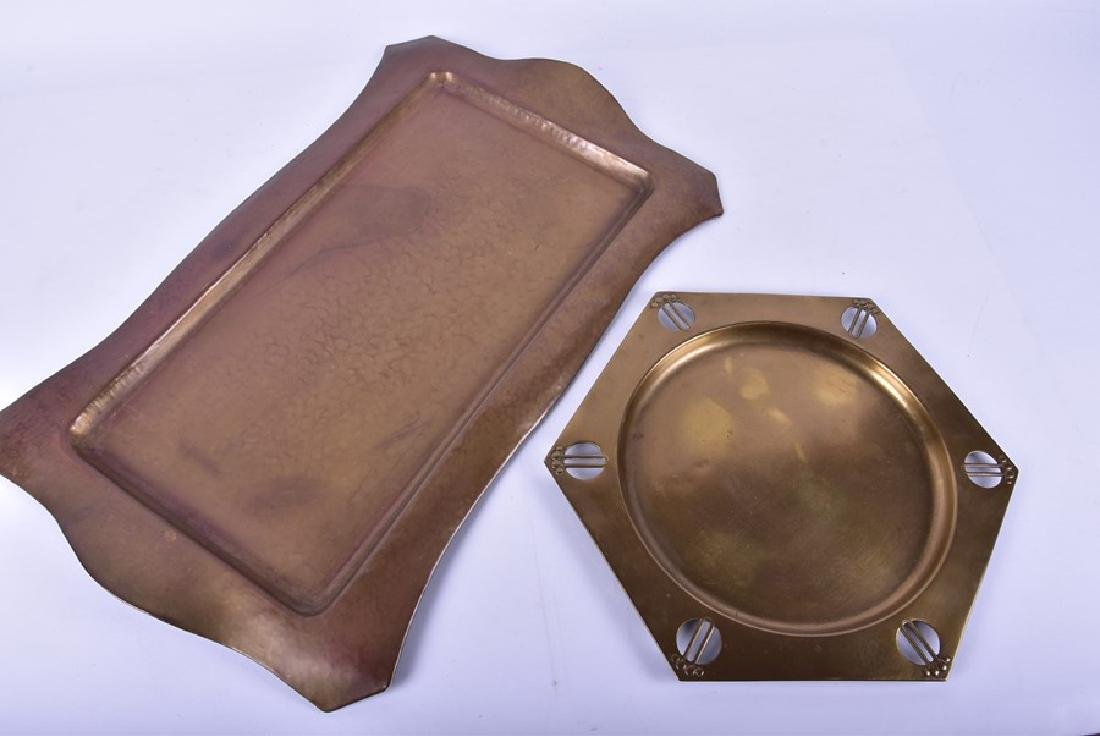 Two Arts and Crafts trays and a copper arts and crafts