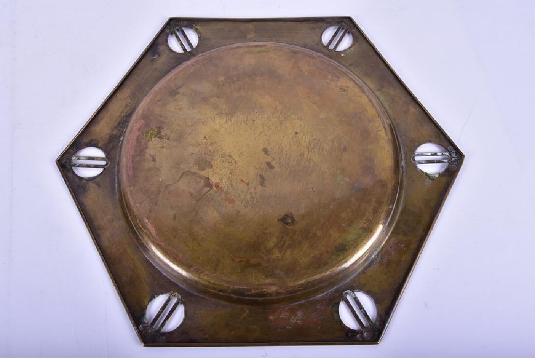 Two Arts and Crafts trays and a copper arts and crafts - 4