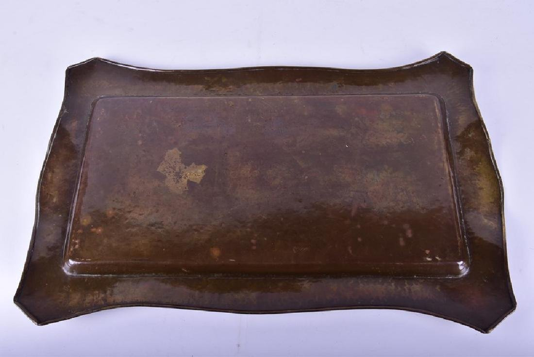 Two Arts and Crafts trays and a copper arts and crafts - 5