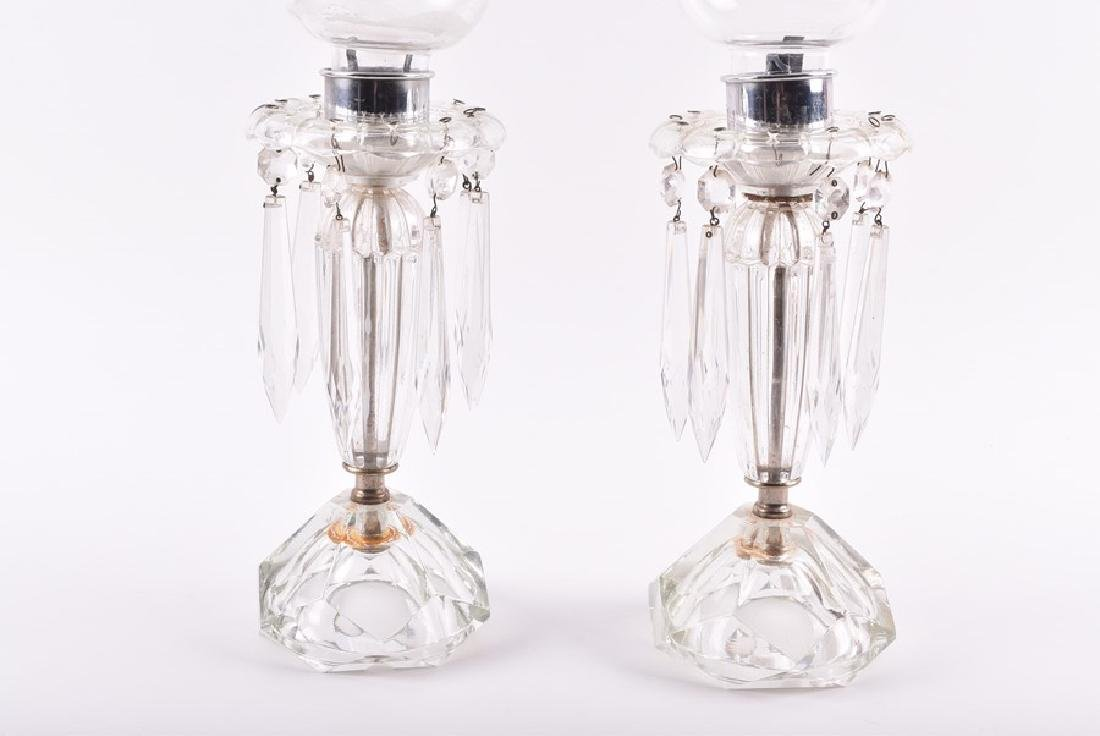 A pair of French cut glass hurricane lamps  with - 3