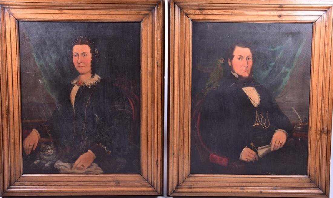 19th century Continental school  a pair of portraits, a