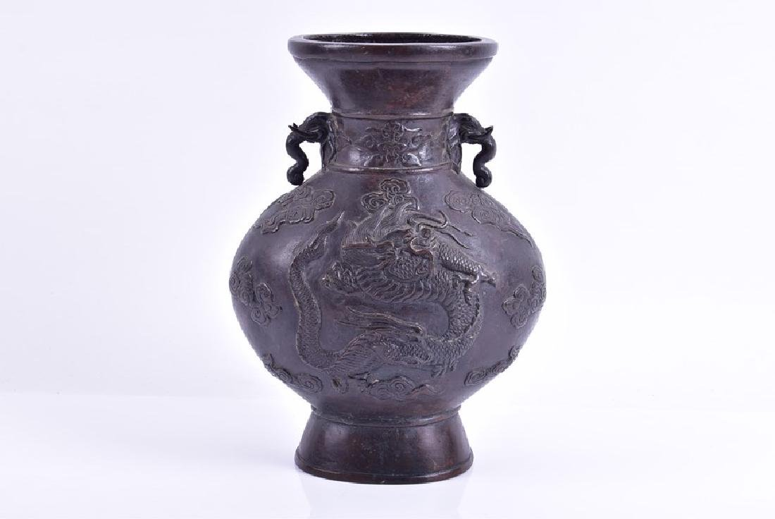 A Japanese Meiji period bronze baluster form vase  with - 4