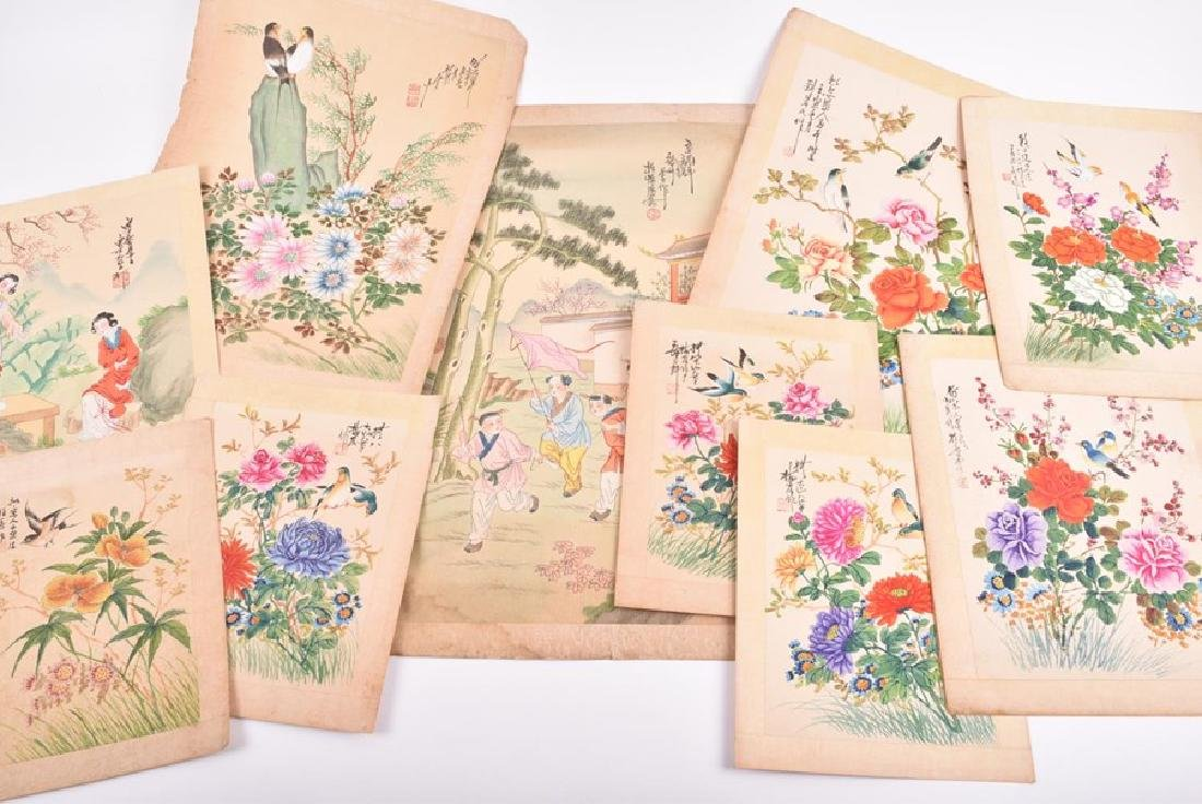 A collection of 20th century Chinese paintings on silk