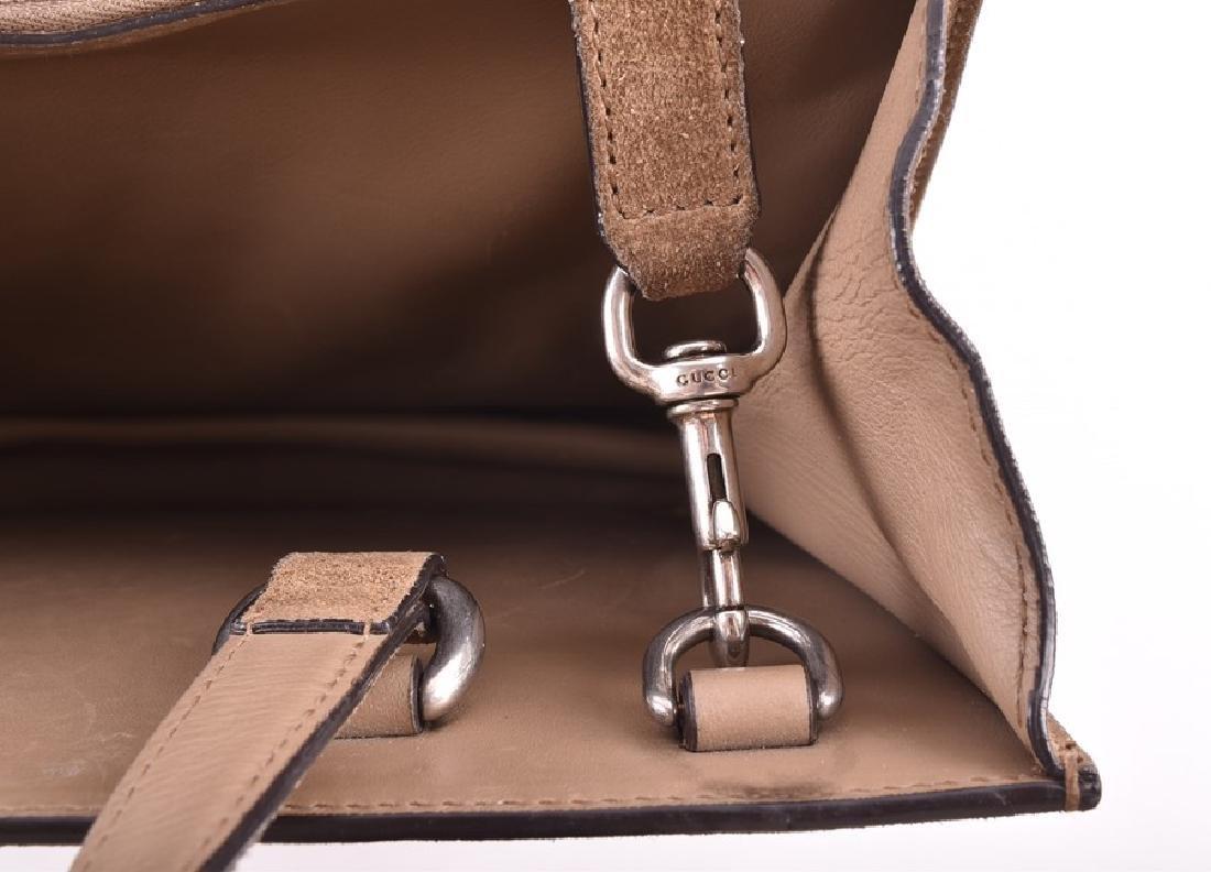 Gucci. A green suede satchel style handbag  of - 2