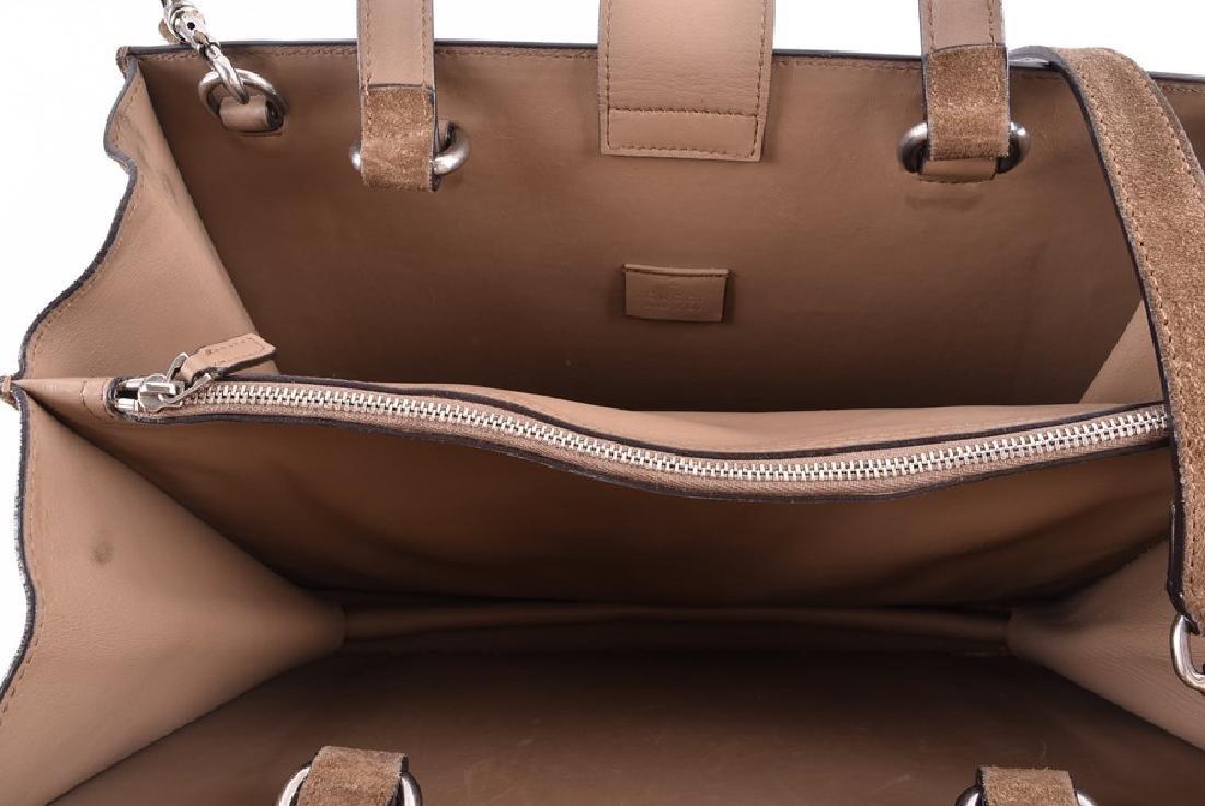 Gucci. A green suede satchel style handbag  of - 7