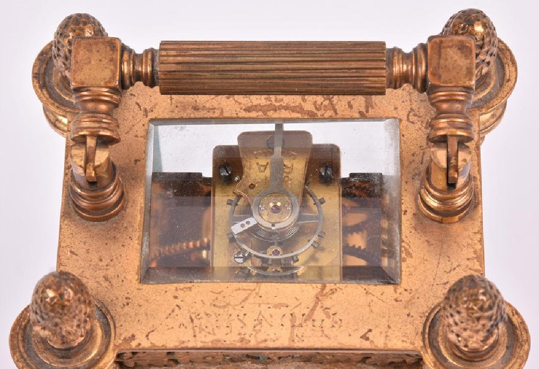 A late 19th century French gilt brass carriage clock - 4
