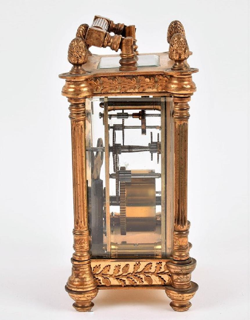 A late 19th century French gilt brass carriage clock - 8