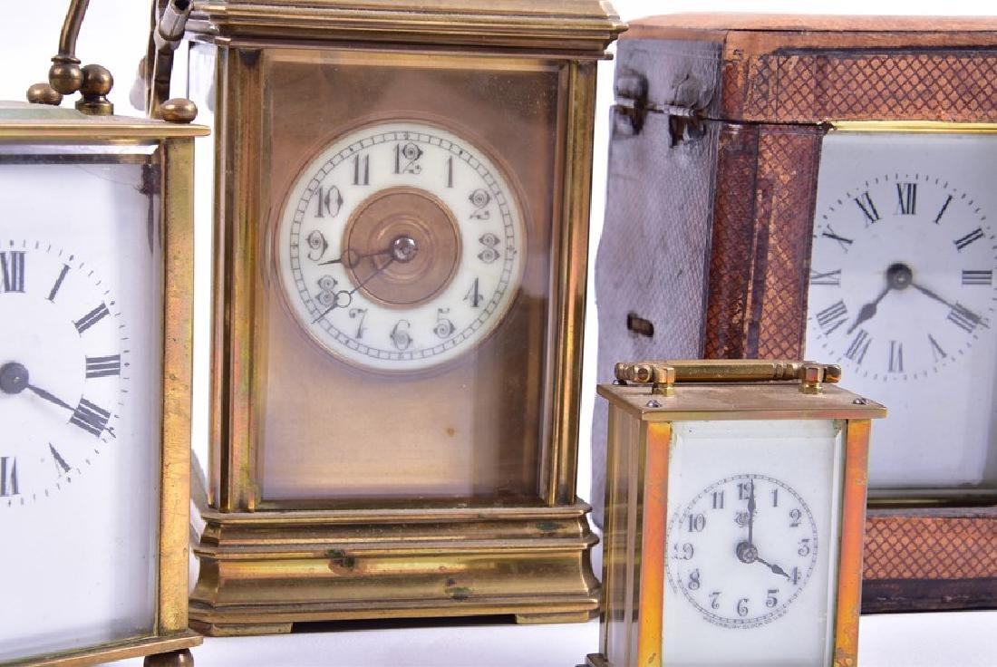 A late 19th century French gilt brass carriage clock - 3