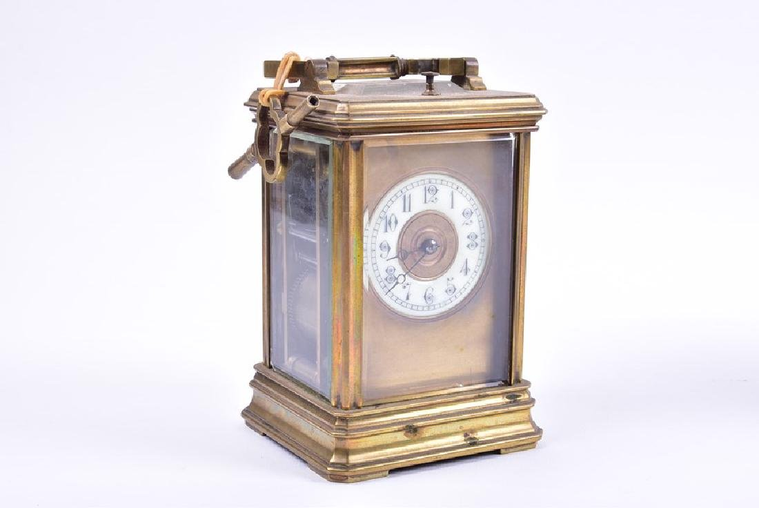 A late 19th century French gilt brass carriage clock - 6