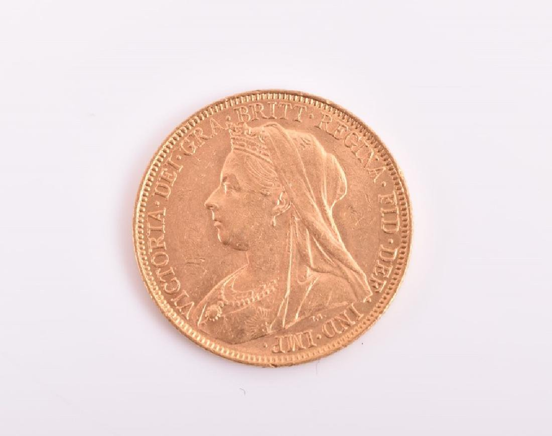 A 1900 Victoria full sovereign.