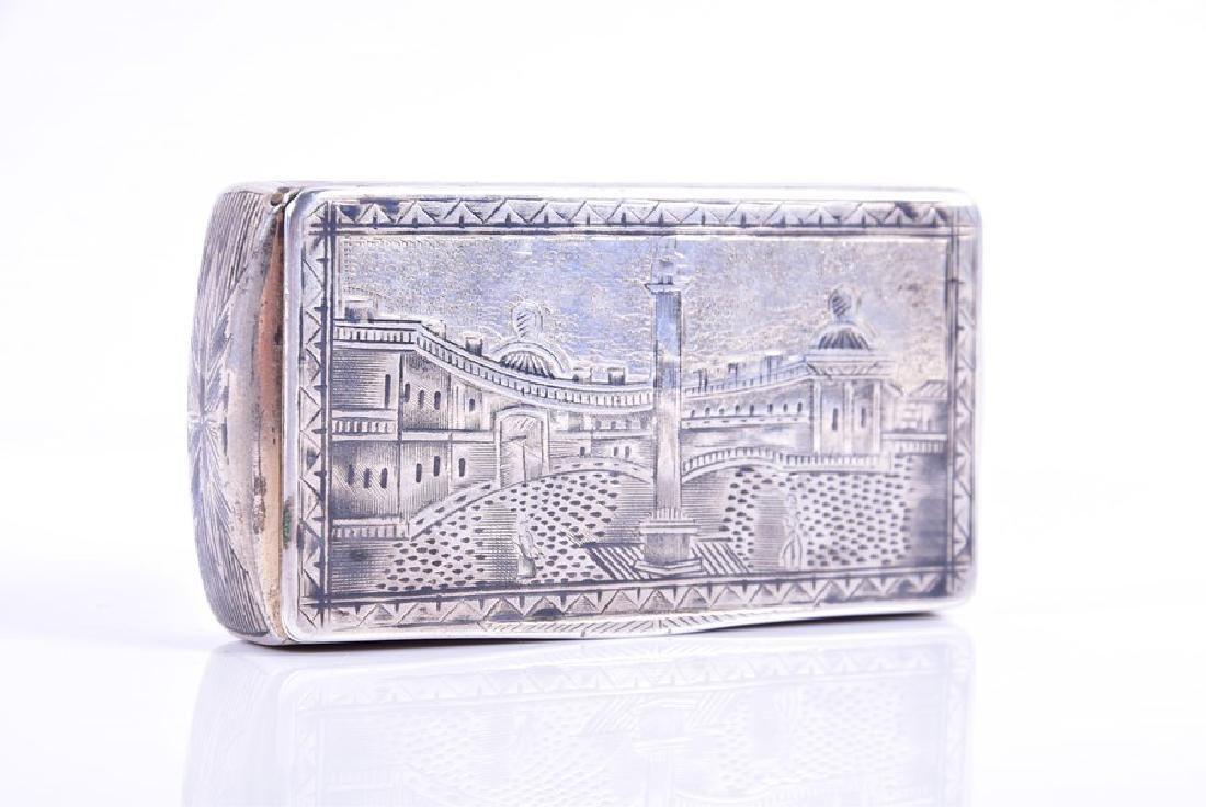 A Russian silver niello snuff box  1836, by Karl