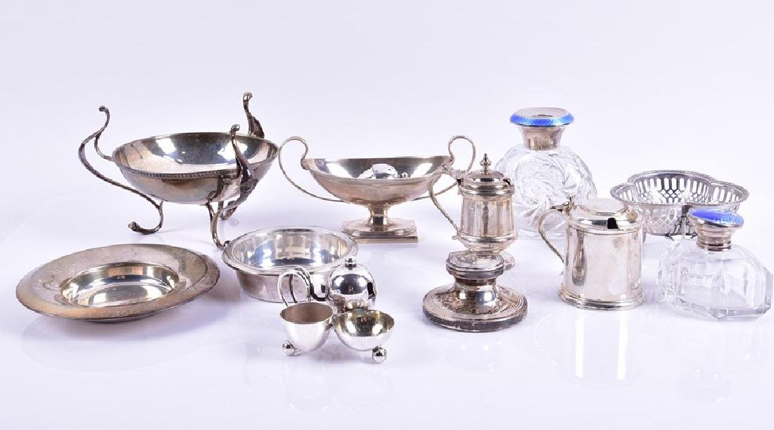 A group of assorted items of silver  including a three