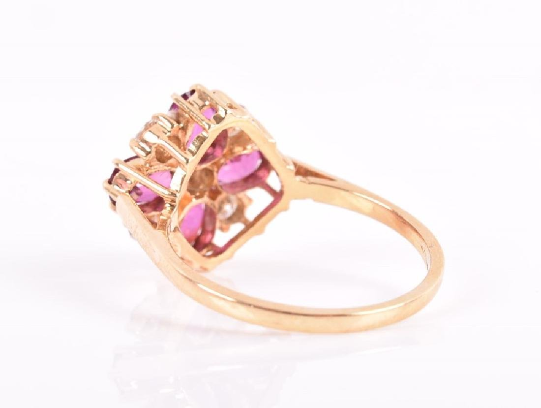 A tourmaline and diamond quatrefoil cluster ring  set - 2