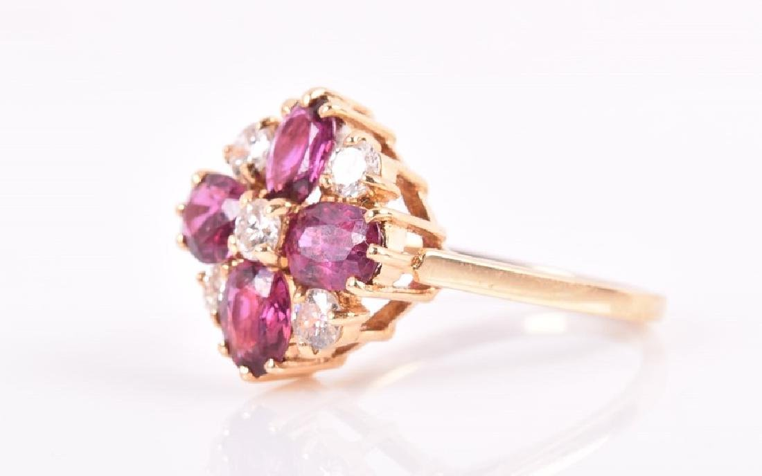 A tourmaline and diamond quatrefoil cluster ring  set - 3