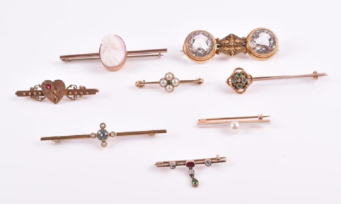 A collection of eight various bar brooches  including a