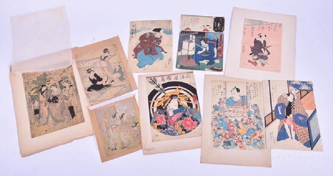 A collection of 19th century Japanese Ukiyo-e woodblock