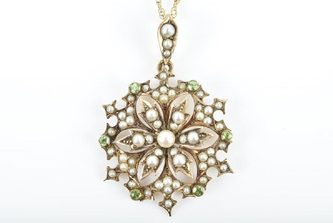 A late 19th / early 20th century seed pearl and peridot