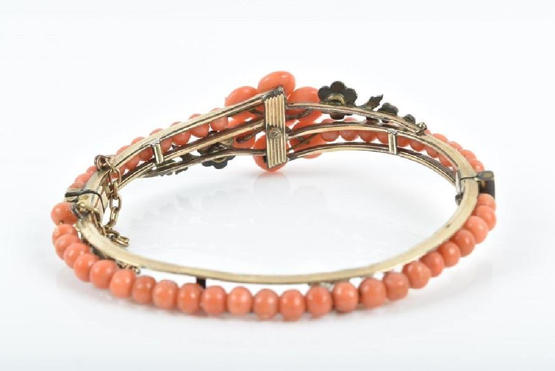A late 19th / early 20th century coral bangle  the - 4