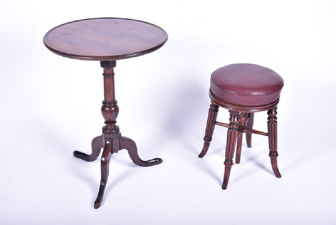A George III mahogany tripod wine table   together with