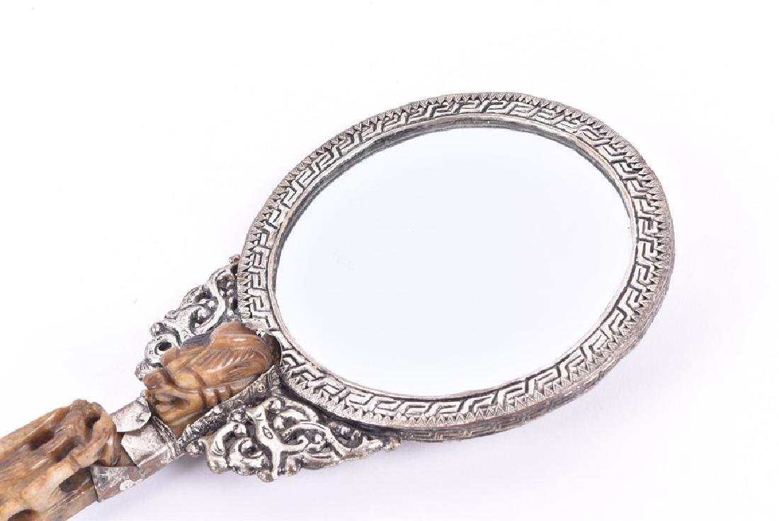 A Chinese white metal and hardstone set hand mirror - 4