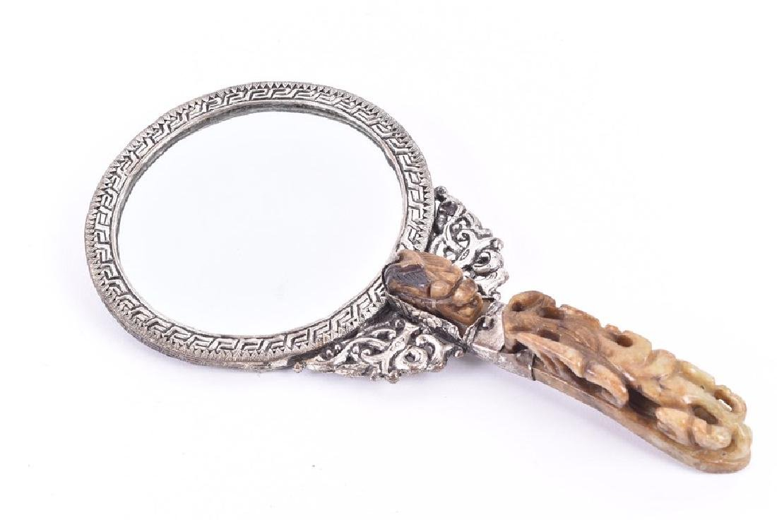 A Chinese white metal and hardstone set hand mirror - 6