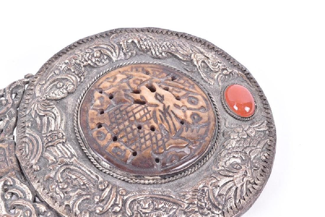 A Chinese white metal and hardstone set hand mirror - 8