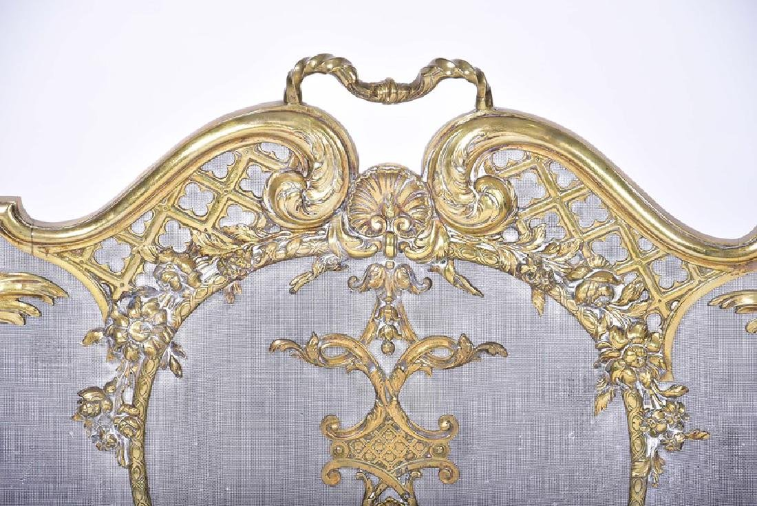 A late Victorian brass-framed firescreen  with acanthus - 3
