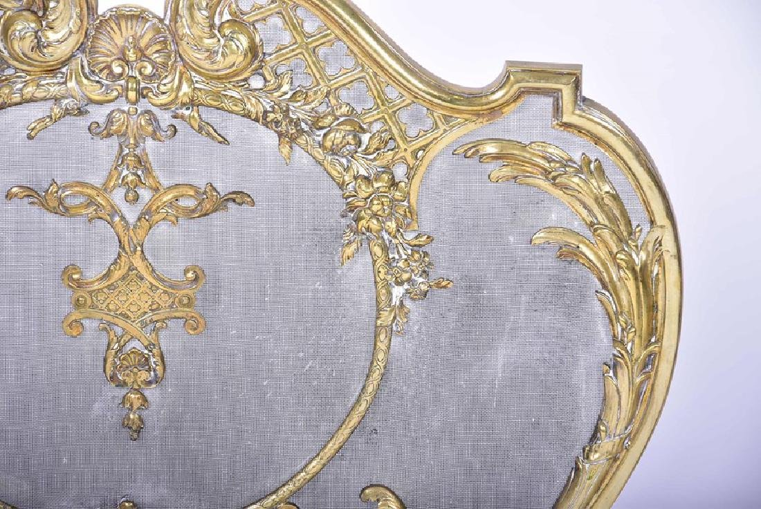 A late Victorian brass-framed firescreen  with acanthus - 4