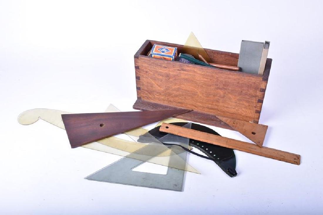 A collection of vintage/antique drawing implements and
