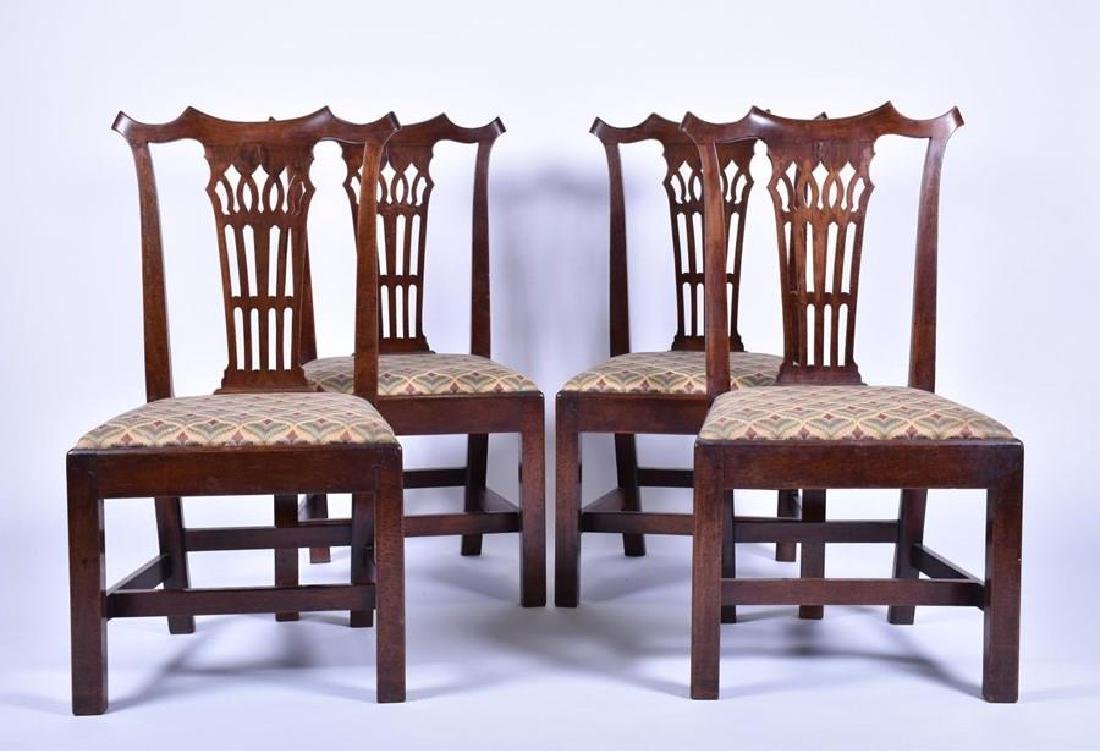 A set of four George III mahogany chairs   in the