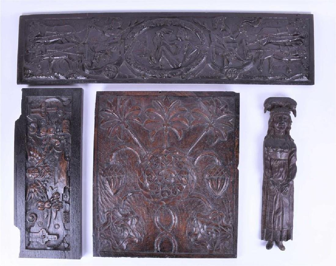 A group of early oak carved panels, possibly 16th