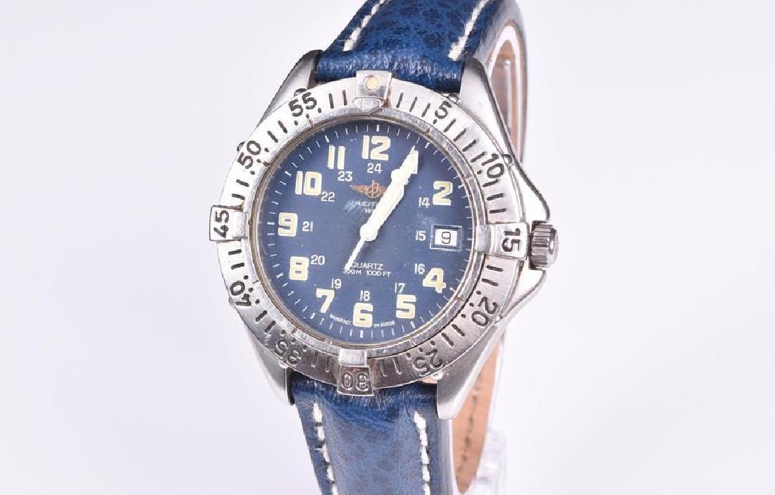 A Breitling Colt stainless steel quartz blue wristwatch