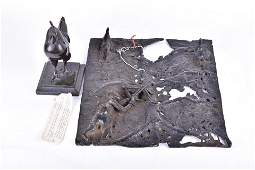 A Benin bronze wall plaque  modelled in relief
