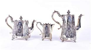 A Victorian style silver-plated three-piece tea set