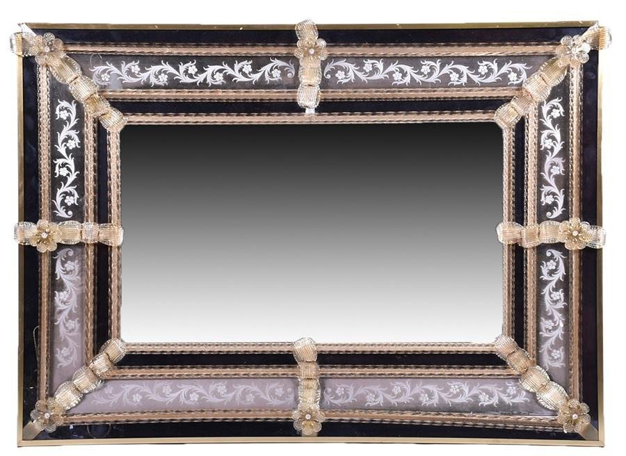 A large rectangular Italian wall mirror  with Venetian